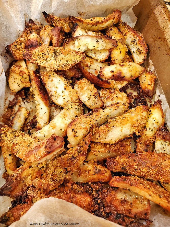 these are breaded potato wedges baked in the oven until crispy brown with Italian seasoning. These baked parmesan crusted potato wedges are used as a side dish.