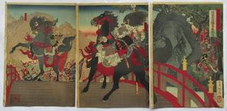 月岡芳年 三国志図会内張飛長阪橋百万勢睨返スの浮世絵版画販売買取ぎゃらりーおおのです。愛知県名古屋市にある浮世絵専門店。