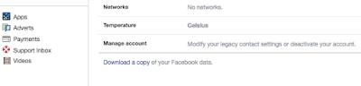 download a copy of Facebook account