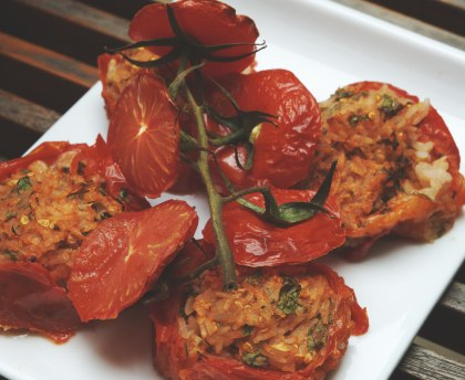 Grape tomatoes stuffed with rice and herbs