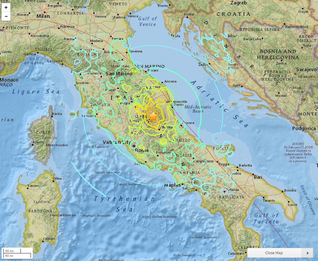 Interactive Map of the Earthquake in Italy