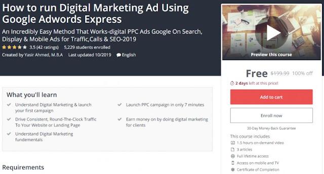 [100% Off] How to run Digital Marketing Ad Using Google Adwords Express| Worth 199,99$