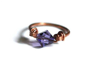 Purple Crystal Copper Ring