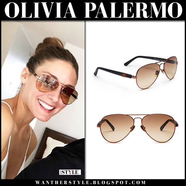 Olivia Palermo with brown aviator sunglasses westward leaning concorde 18 summer style august 21