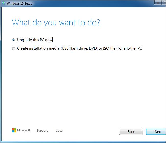 استخدام أداة إعداد Windows 10 لترقية نظام Windows 7.