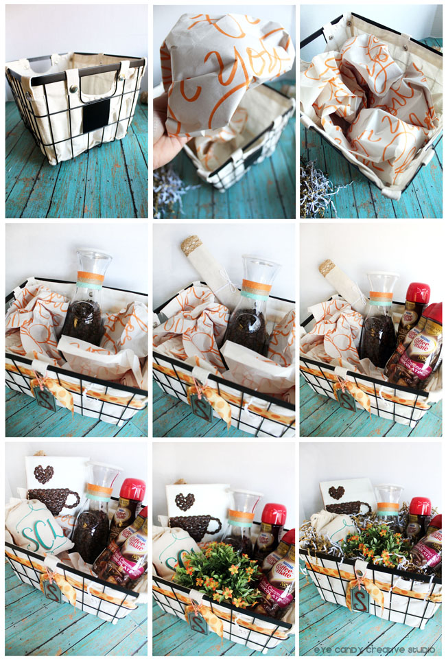 how to add items to a coffee gift basket, assembling a gift basket