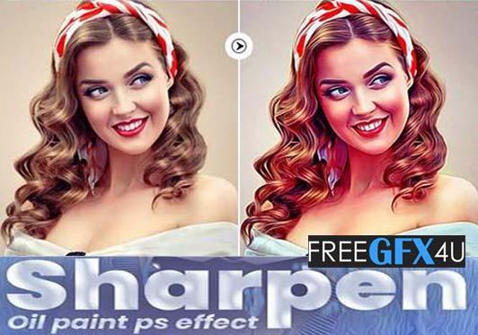 Premium Sharpen Oil Paint Photo Action