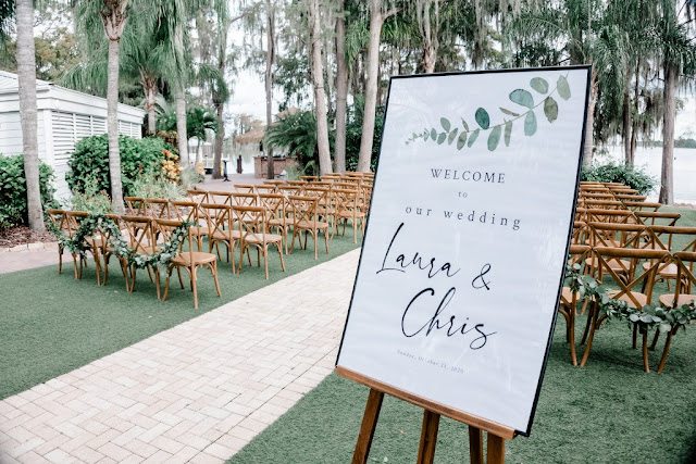 wedding welcome sign at ceremony