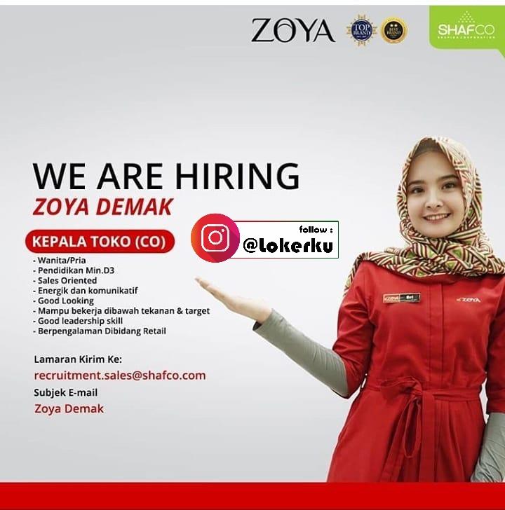 Loker Demak Halooo DEMAK... Tertarik bergabung dengan Shafira Corporation (Holding Company Muslim Fashion in Indonesia) ?    Kita lagi mencari talent yang kompeten untuk posisi Kepala Toko (CO). Jika kamu merasa sesuai kualifikasinya, segera kirimkan CV kalian ke email yang tertera ya.