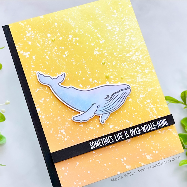Cardbomb, Maria Willis, Tonic Studios,Tonic Studios Stamp Club,Whales, cards, cardmaking, stamps, ink, paper, papercraft, die cutting, art, color, watercolor, ocean, heat embossing, nuvo