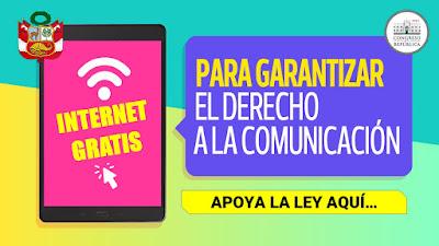 Internet GRATIS para garantizar el derecho a la COMUNICACION apoya la norma legal aqui: