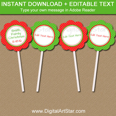 editable christmas cupcake toppers