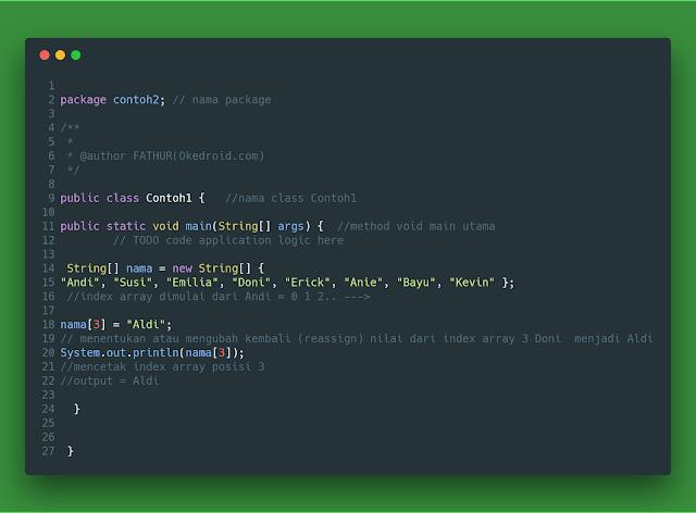 Contoh code lain array java