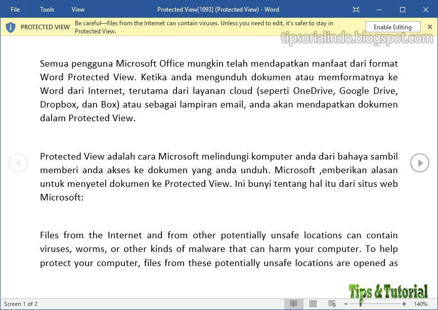 Cara Menonaktifkan Protected View di Microsoft Word - Tips