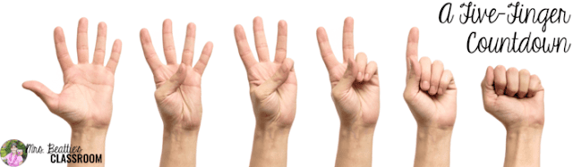 Photo of hands doing a five-finger countdown.