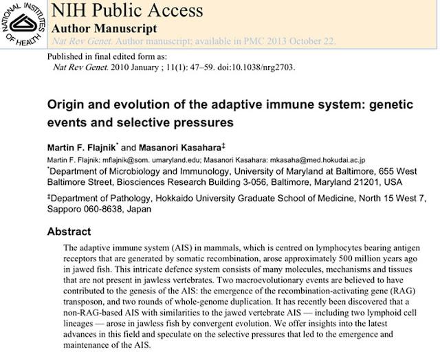 Evolution of immune systems in mammals goes back 500 million years (Source: Flajnik & Kasahra)