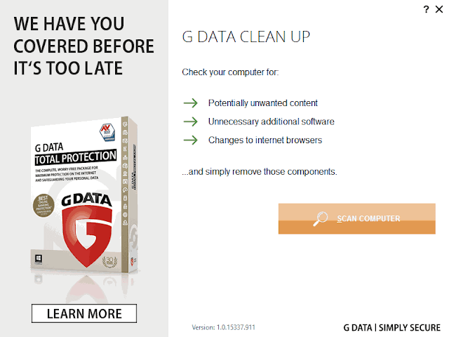 G DATA Clean Up per Windows avvia scansione PC