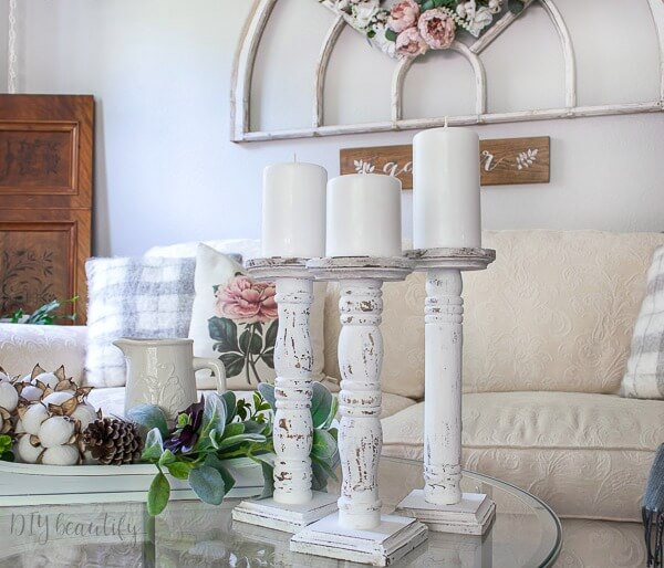 farmhouse chippy candlesticks
