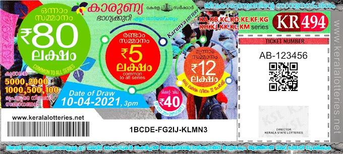 Kerala Lotteries Results 10-04-2021 Karunya KR-494 Lottery Result