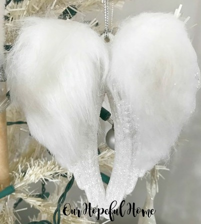 white fluffy angel wing ornament