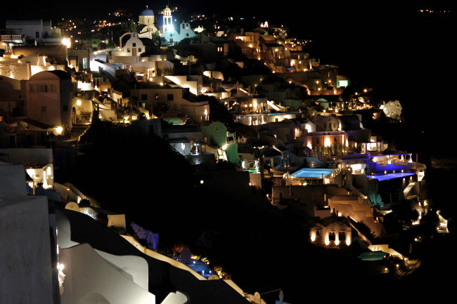 Oia at night Santorini island