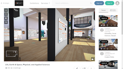 Virtual room with student posters on walls.