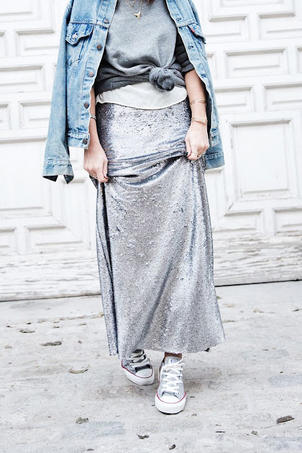 Sparkle Sequin Maxi Skirt + Collage Vintage