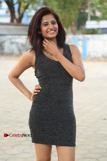 Sravani Cute Stills in Silver Tight Short Dress at Pochampally IKAT Art Mela 2017 Launch