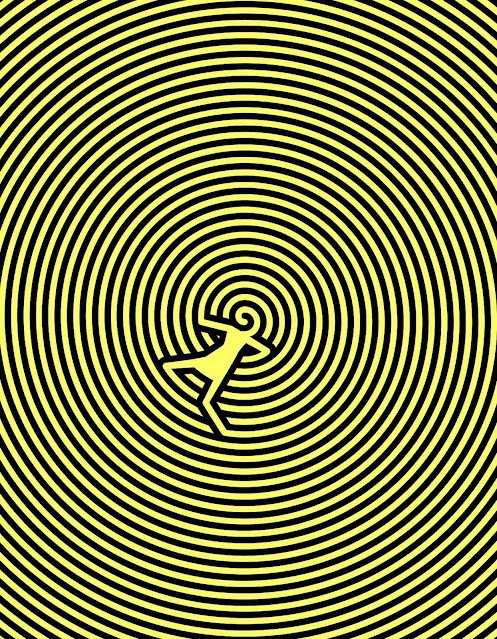 Christoph Niemann, a small figure on a yellow amd black spiral background