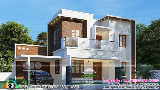 Modern flat roof home by GW Architectural studio Kollam