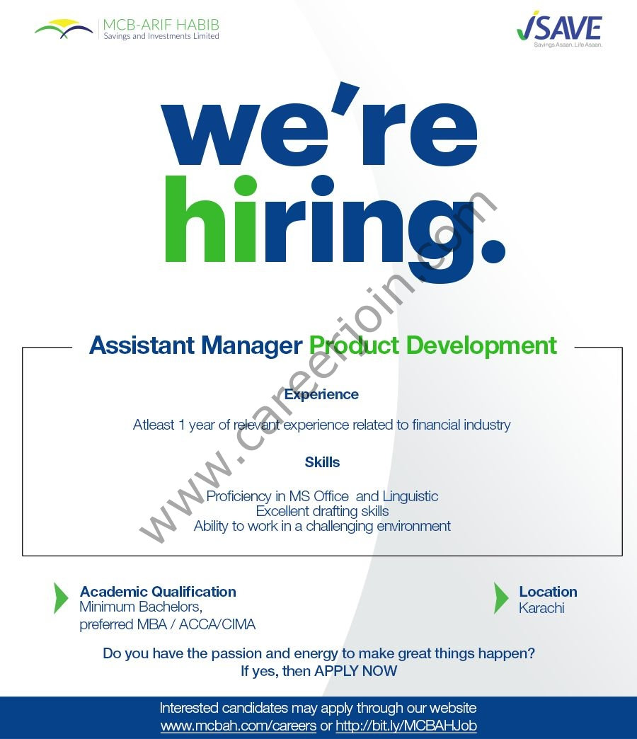 MCB Arif Habib Savings & Investment Limited Jobs Assistant Manager Product Development