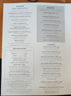 a bad photo of the menu