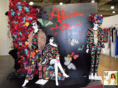 Alice and Olivia by Stacey Bendet Exhibitor Booth at Accessorie at Jacob Javitz New York City, butterflies, animal print, floral, flowers