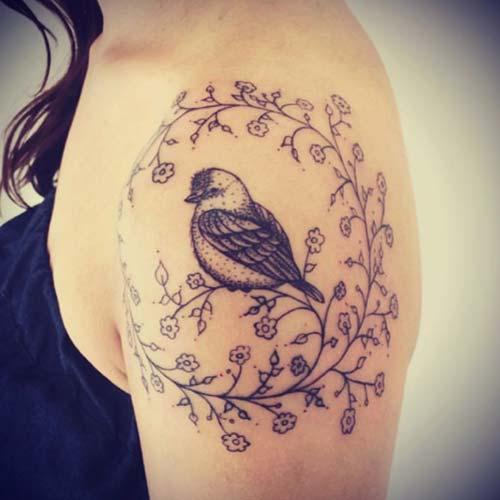 tek kuş kadın omuz dövmeleri single bird woman shoulder tattoos