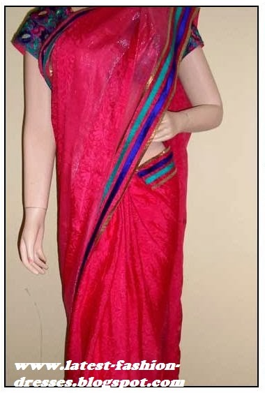 plain border shining pink light weight saree