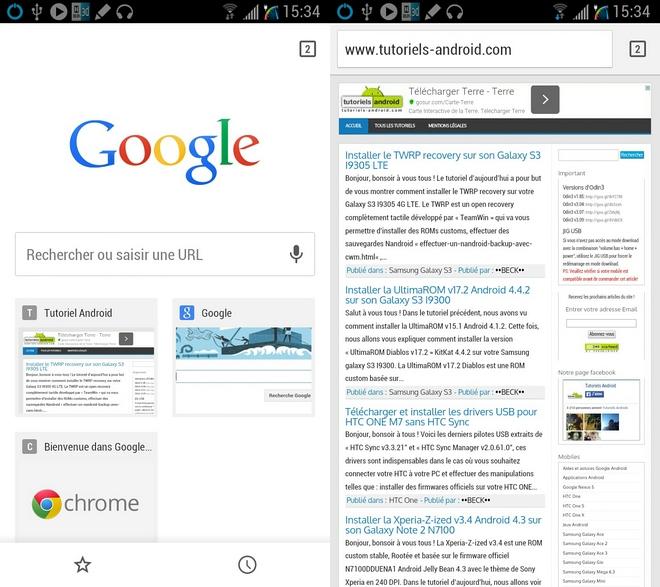 Navigateur Android Google Chrome