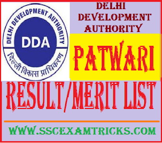 DDA Patwari Result
