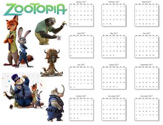 2017 Zootopia Calendar
