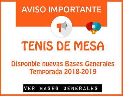 TENIS DE MESA: Disponible nuevas Bases Generales Tem 2018-2019