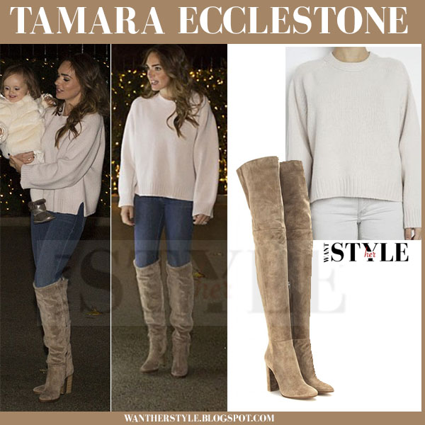 6bf9c6f81377 Tamara Ecclestone in beige sweater, skinny jeans and camel suede boots what  she wore luxe