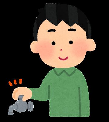 蛇口を締める人のイラスト(男性)