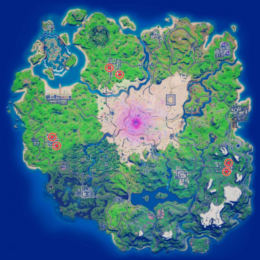Where are all the boxes of chocolates in Placentero Park, Sacred Hedges and Commerce City in Fortnite - Locations