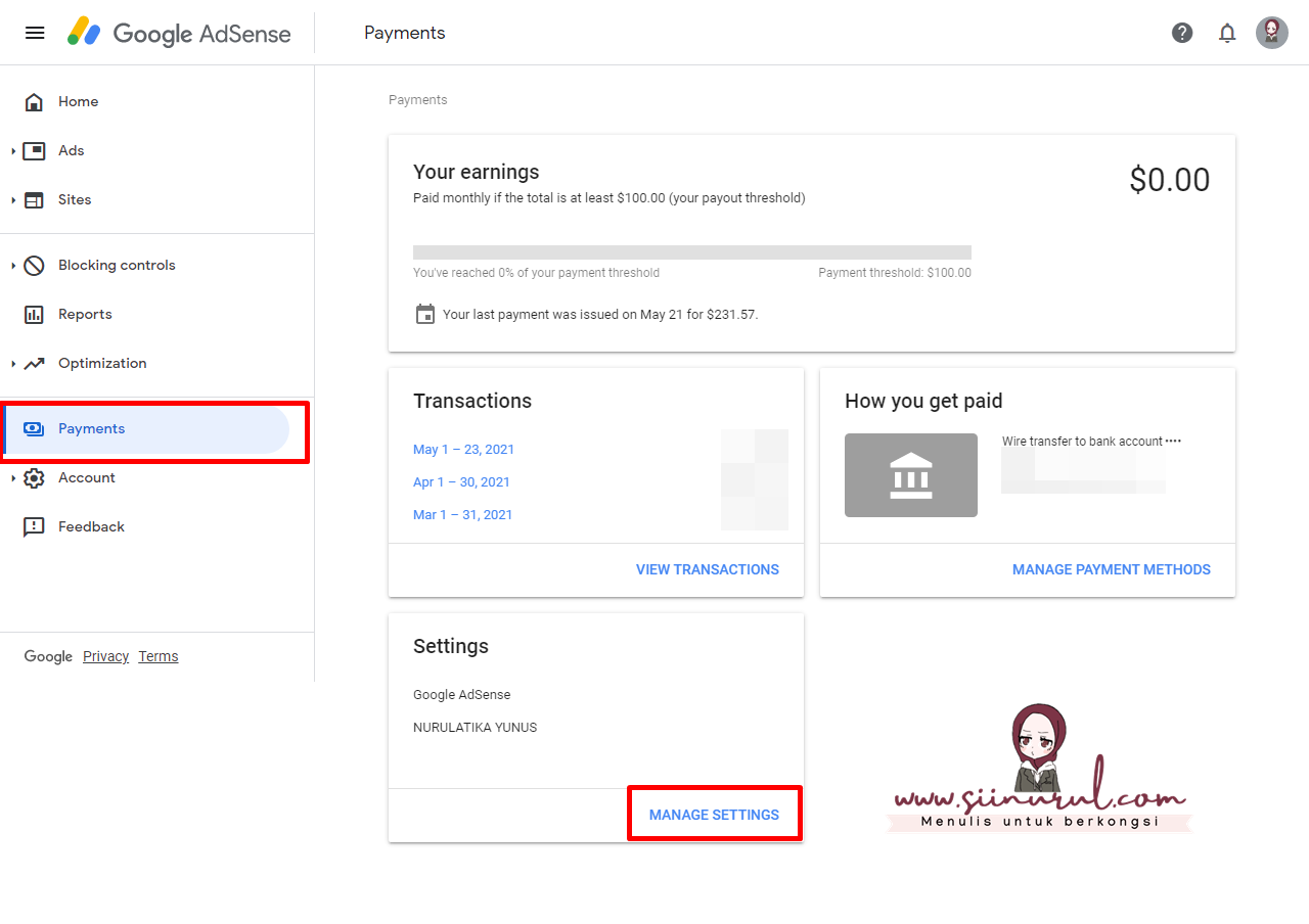 Cara Mengisi Manage Tax Info Google Adsense di Blog