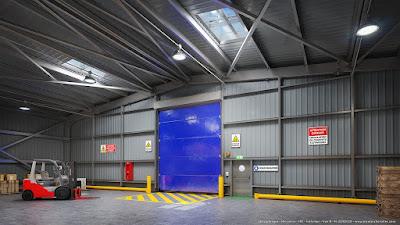 Perspective 3d hangar industriel