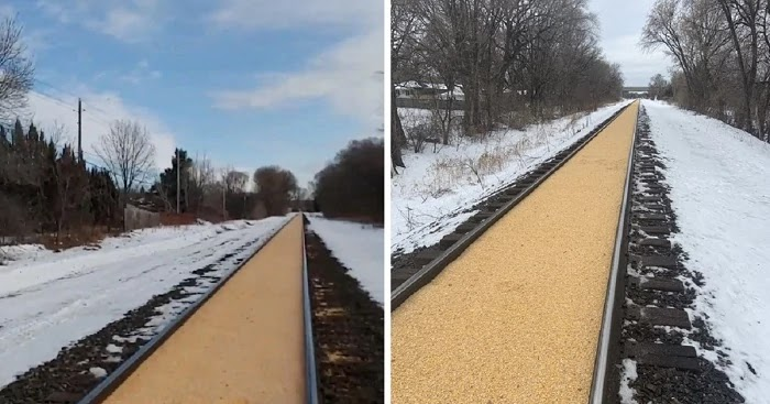This Is What Train Tracks In Crystal, Minnesota, Look Like After A Train's Massive Spill Of Corn