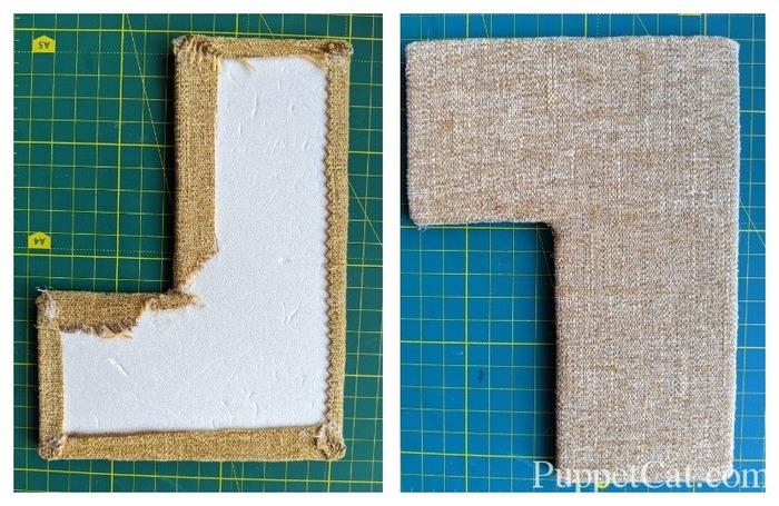 Диван для кукол из пенокартона и ткани