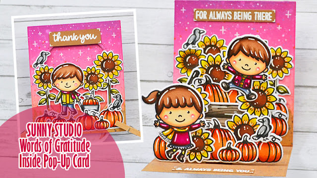 Sunny Studio Stamps: Words of Gratitude Fall Friends Fall Kiddos Happy Harvest Thank You Card by Marine Simon