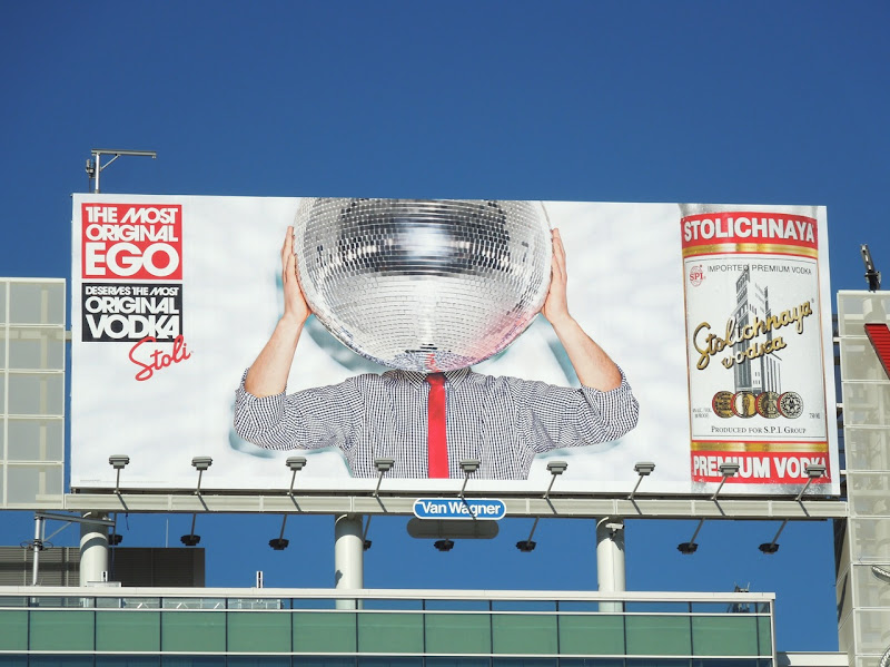 Stoli Most Original Ego glitterball billboard Hollywood