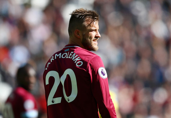 Andriy Yarmolenko of West Ham United looks on during the Premier League match between West Ham United and Chelsea FC at London Stadium on September 23, 2018 in London, United Kingdom