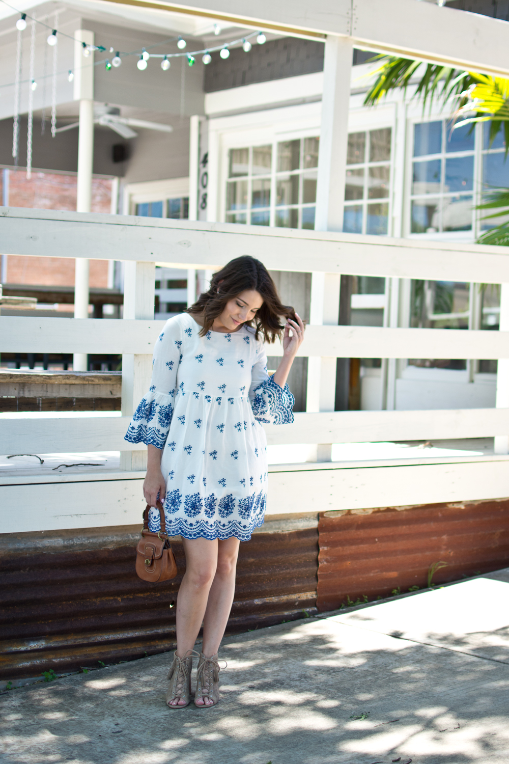summer outfit, mothers day brunch outfit, white and blue embroidered dress outfit, fashion blogger, babydoll dress outfit, scallop dress, summer fashion blogger outfit